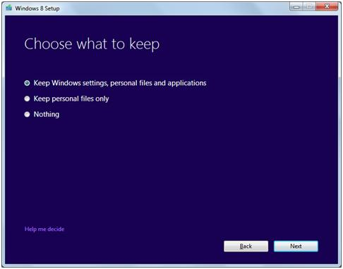 help for Windows 8 settings