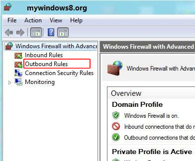 Select Outbound Rules in windows 8