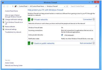 windows8 firewall settings