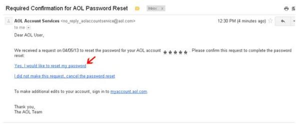 AOL password confirmation