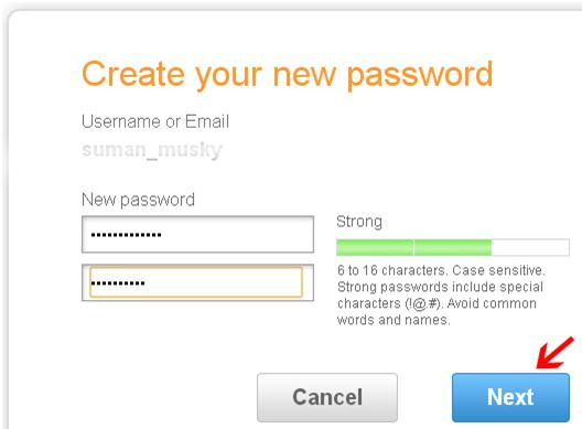 create new password in aol