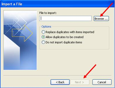 import file in outlook