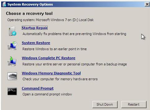 chose a recovery tool