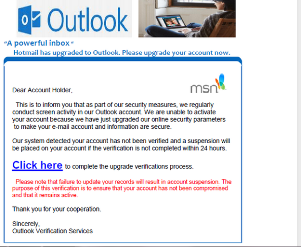 Another Outlook com Phishing Scam is here to Deactivate Your Account