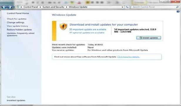 install windows 7 updates without admin rights